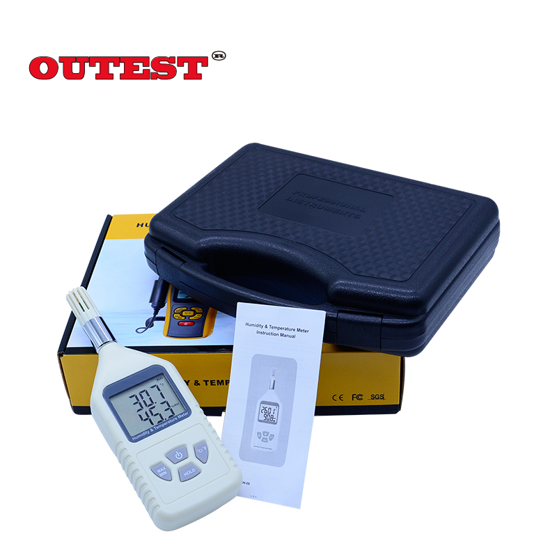With Carry box GM1360 Digital hygrometer 5%RH ~ 98%RH(-10~50C) humidity temperature tester  MAX MIN Data hold function digital indoor air quality carbon dioxide meter temperature rh humidity twa stel display 99 points made in taiwan co2 monitor
