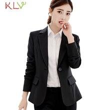 Women Blazer Winter 2018 Elegant Button Office Lady Suit Lon