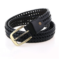 Free Shiiping 2016 New High Quality Men S Woven Belt Male Leather Belt Pure Leather Belt