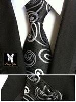 8cm Men Formal Neck Ties Set With Handkerchief Black With White Classic Paisley Gravata Sets