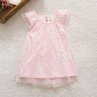 Summer Net Yarn Dresses Girls Comfy Clothes Lolita Cute Style Girls Dress Sleeveless Shining Sequined Lovely