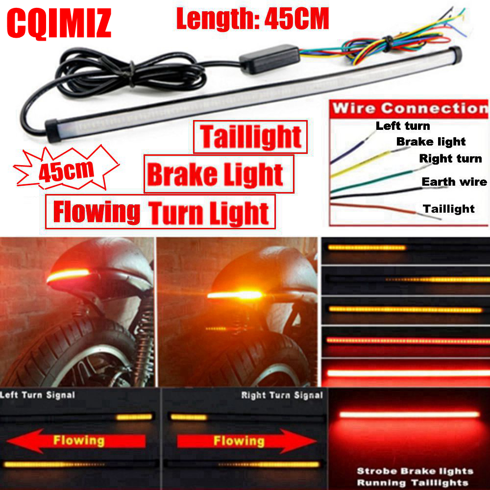2X Motorcycle LED Sequential Flowing Turn Signal Indicator Lights Amber Red Lamp