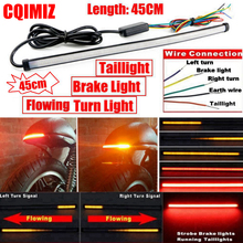 Motorcycle Red Amber LED 45cm Sequential Switchback Flowing Tail Brake Light Running Turn Signal Integrated Strip