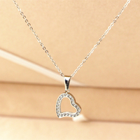 Trendy Rhinestone Cz Diamond Heart Love Short Chain Pendants Necklaces Real Gold Plated Lady Girl Gifts
