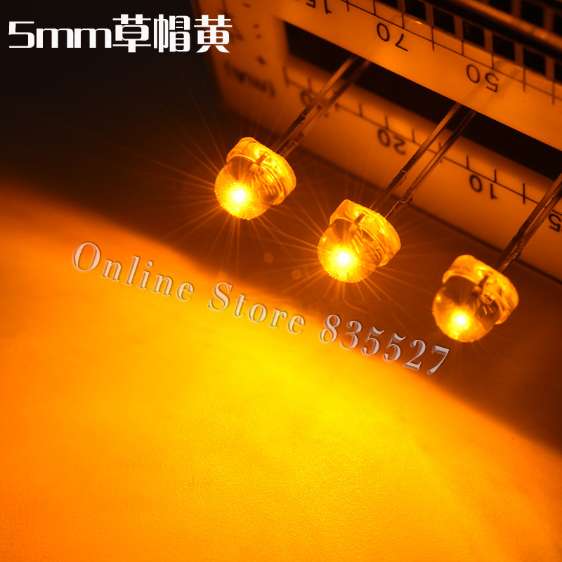 100PCS/LOT F5 Straw Hat Yellow 5MM LED 5mm Straw Hat Led Lamp Beads Length:16-18mm