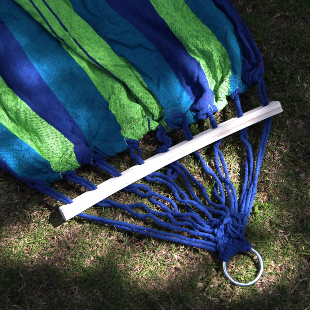 Canvas-Double-Spreader-Bar-Hammock-Outdoor-Camping-Swing-Hanging-Bed-Blue-Free-Shipping (5)
