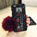 Woman Fox fur Ball Tassels Gemstone chain accessories + Crystal Glitter back phone Case Stand Cover For Apple Iphone 6 6S 7 Plus