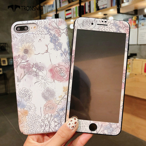Image 5 - TRONSNIC funda de teléfono con película de vidrio templado para iPhone, protector de pantalla de cristal templado para iPhone X, XS, MAX, XR, 6, 6S, 7, 8 Plus, color azul y rosa