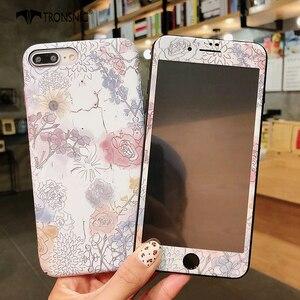 Image 5 - Чехол TRONSNIC с цветами для iPhone X, XS MAX, XR, синий, розовый, закаленное стекло, пленка для iPhone 6, 6S, 7, 8 Plus, Роскошный Жесткий матовый чехол