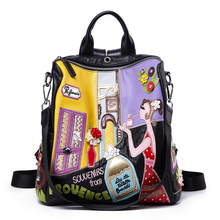 Women Leather Patchwork Embroidery Backpack Schoolbag Travel Bag Totes Braccialini Brand Style Handicraft Cartoon Perfume Girl