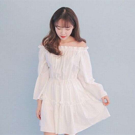 Dress Wanita 2017 Musim Semi Korea Gaya Jepang Lolita Off Bahu Mini