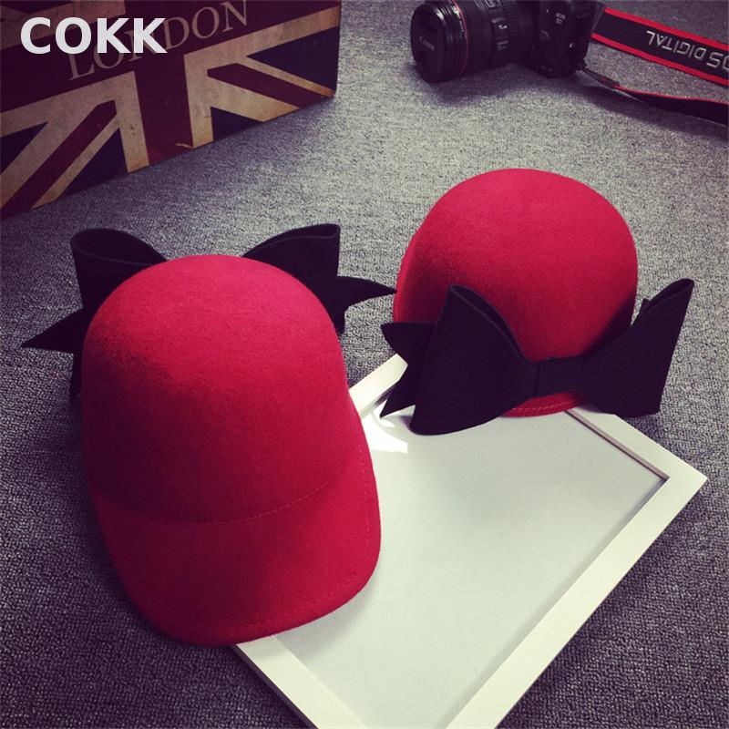 COKK Women knight Woolen Riding Hat Solid Color Winter Spring Cute Big Bow  Golf Cap Gorras Baseball Cap Hats for women 2017 new fashionable cute soft black grey pink beige solid color rabbit ears bow knot turban hat hijab caps women gifts