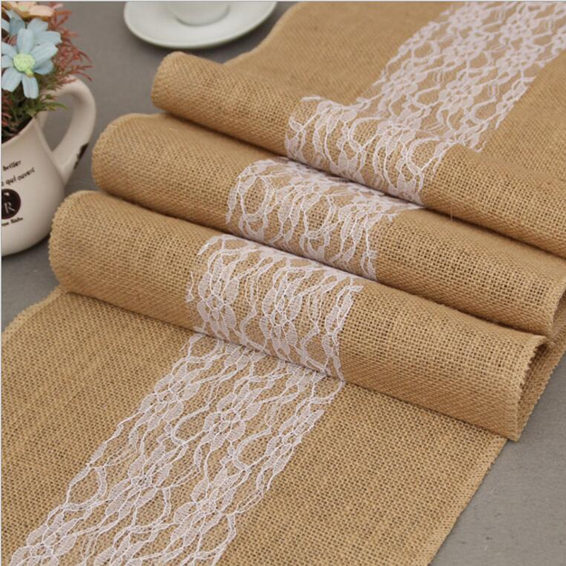 Lace Hessian Burlap Table Runner Wedding Linen Table ...