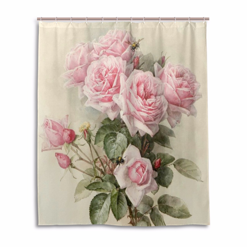 Roses Shower Curtain Waterproof Mildewproof Bathroom Curtains Bath Curtains  With 12 Hooks Gift Pink Shower Curtains