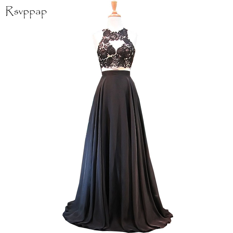 Long Elegant   Prom     Dresses   2019 A-line Beaded Lace Floor Length Black Chiffon African Backless Two Piece   Prom     Dress