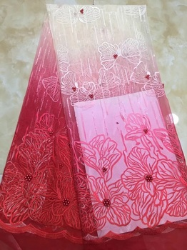 2019 Latest African Tulle Lace High Quality French Lace Fabric In White Red Beaded Nigerian Swiss Voile Lace Wedding Dress