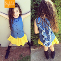 INS Children Summer sleeveless shirt kids Wolf Rita behind the decorative lace shirt Tencel denim