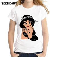 TEEHEART New Female T Shirt Vintage Rock Punk Princess Print Short Sleeve O Neck Summer Women
