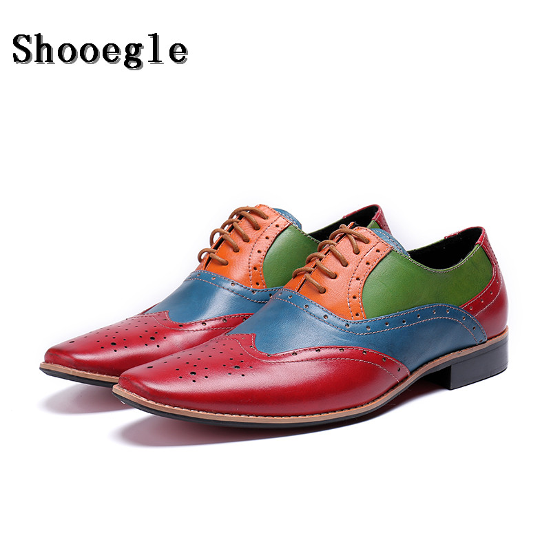 SHOOEGLE/Новинка; мужские лоскутные оксфорды; роскошные кожаные свадебные модельные туфли; Мужские броги с перфорированным носком; обувь для банкета; лоферы в деловом стиле