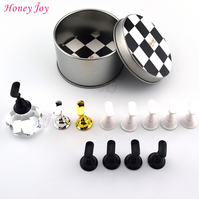 1set Beautiful Chess Board Nail Tips Practice Stand Magnetic Stuck Crystal Holder Salon UV Gel Polish Display Manicure Tools
