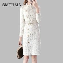 16f66b4efba61 2019 nouveauté automne et hiver piste femmes élégant tweed robe arc col à  manches longues femme mode chic robes vestidos