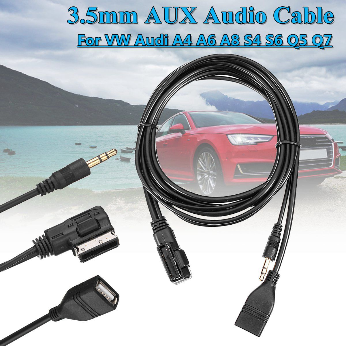 MDI MMI Adaptateur Compatible pour iPXs XS Max X XR 8 7 pour Audi A3 A4 A5 Q5 VW Jetta Passat Touareg AMI Audio Music AUX Cable Power Interface 9,3 m