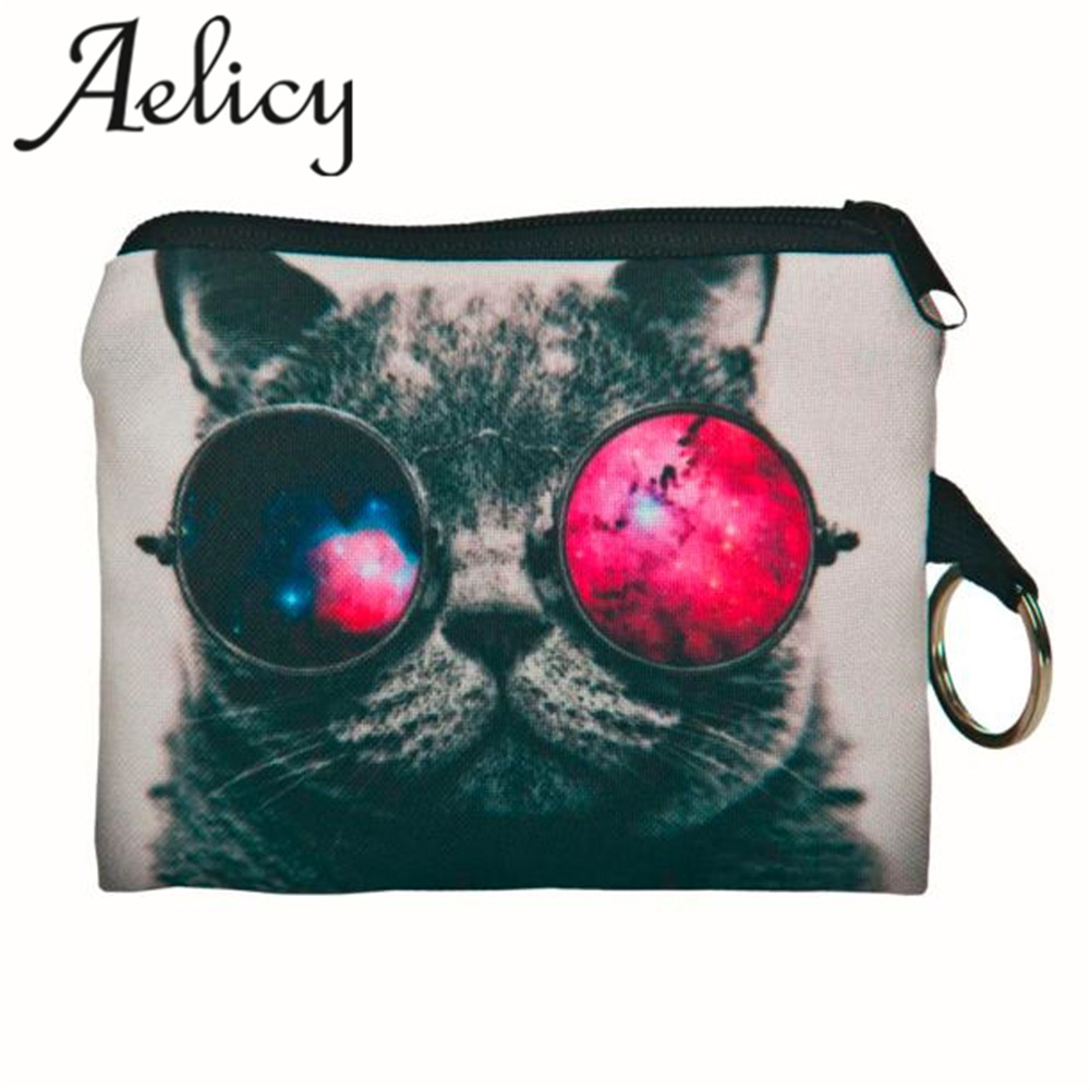 Aelicy 2018 Hot New Fashion Women light high quality Girl printing coins change purse Clutch zipper zero wallet phone key bags