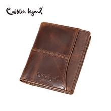 Cobbler Legend 2016 Fashion Designer Famous Brand Mens Real Leather Money Pocket Male Purses Wallet Credit Card Passport Holder