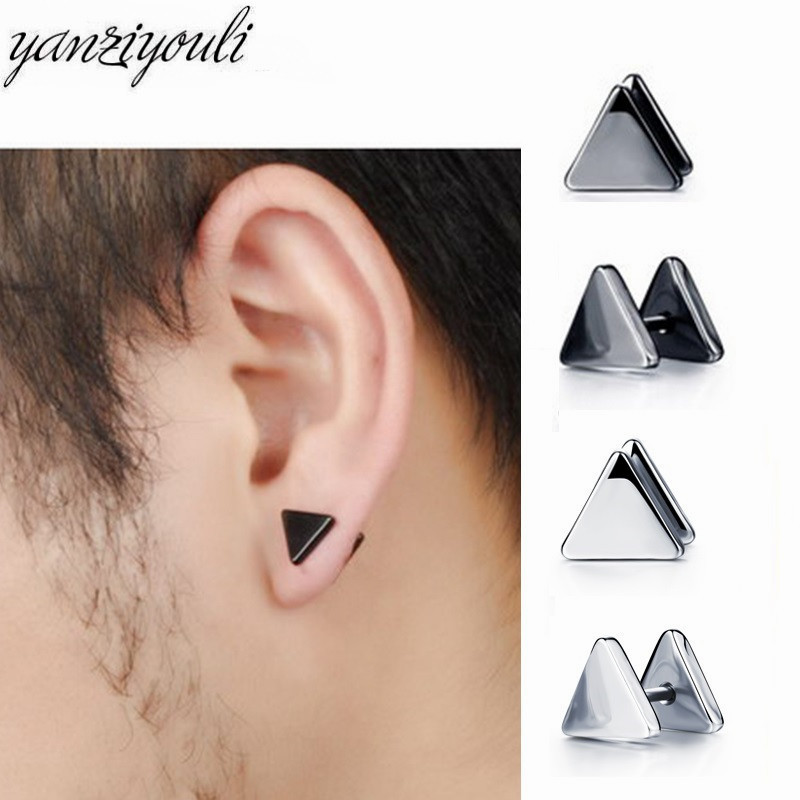 1pair Classic Small Triangle Stainless Steel Earrings Female Earings Hypoallergenic Earrings Kolczyki Men