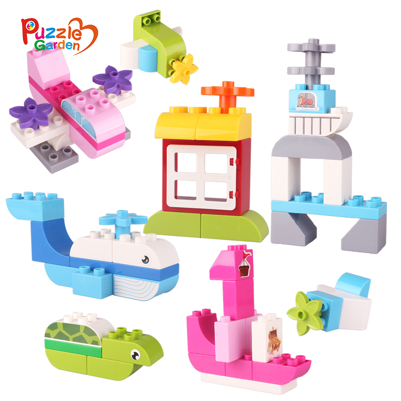 Traffic Series 74PCS Model Building Blocks Kid's Educational Toys Large Size DIY Brick Toy Compatible With For Kids Gift kid s home toys large particles happy farm animals paradise model building blocks large size diy brick toy compatible with duplo