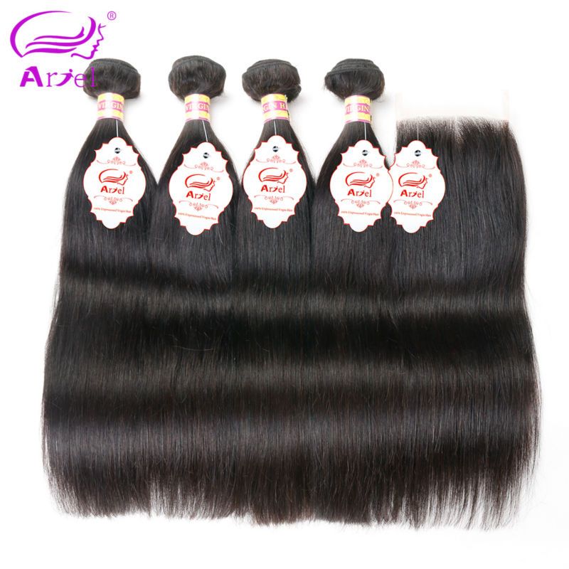 Ariel Straight Brazilian Hair Weave 4 Bundles With Closure Natural Color 8 28 inch Non Remy