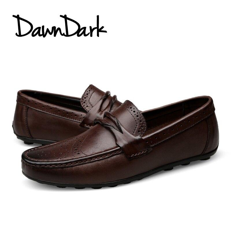 Mens Casual Genuine Leather Shoes Spring Summer Men Flat Walking Loafers  Black Brown Man Luxury Slip. sku  32863187586 25adfdcbb67a