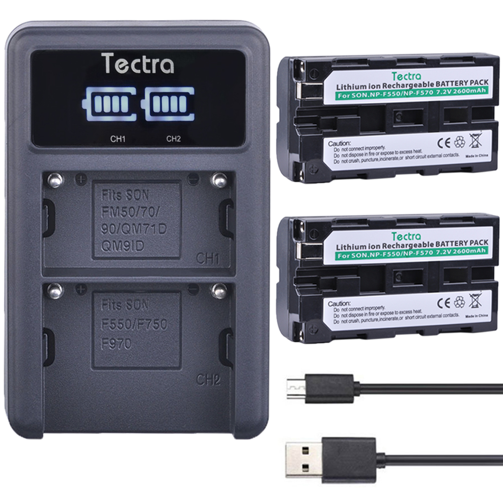 Tectra 2PCS NP-F550 NP F550 Li-ion bateria+ LED Display Universal USB Dual Charger for Sony NP-F570 F530 CCD-SC55 CCD-TRV8 np f550 np f570 np f960 np f970 li ion battery lcd dual charger for sony np f570 f970 f530 ccd sc55 ccd trv8 dcr trv9 ccd tr3