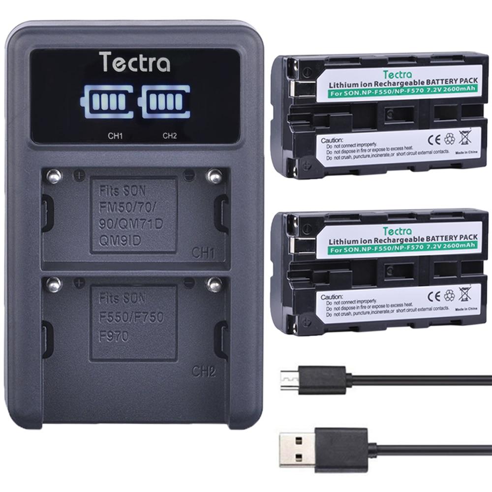 Tectra 2PCS NP-F550 NP F550 Li-ion bateria+ LED Display Universal USB Dual Charger for Sony NP-F570 F530 CCD-SC55 CCD-TRV8