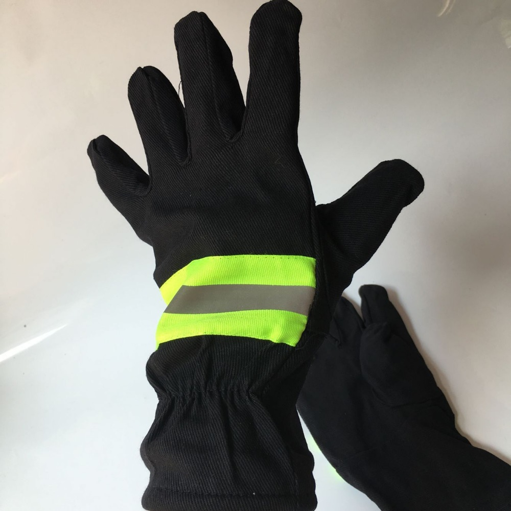 Free shipping 2 pairs high temperature protective fire fighting  working gloves full lining finger protecting.