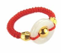 Pure 24K Yellow gold Beads Ring White Handmade String Weave Ring Luxury