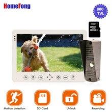 Homefong 7 Cal wideodomofon 1 kamera przewodowy dzwonek nagrywanie odblokuj czujnik ruchu czarny/biały przycisk dotykowy karty SD