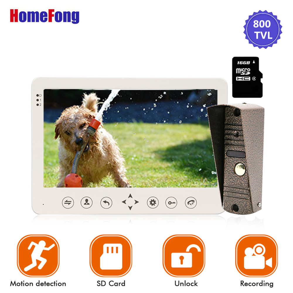 Homefong 7 Inch Video Door Phone 1 Camera  Wired Doorbell Recording Unlock Motion Sensor Black/White SD Card Touch Button-in Video Intercom from Security & Protection
