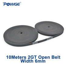 POWGE 2MGT 2M 2GT GT2 open synchronous Timing belt 2M-6 2GT-6 width 6mm Rubber Small backlash Linear Motion 3D Printer 10Meters(China)