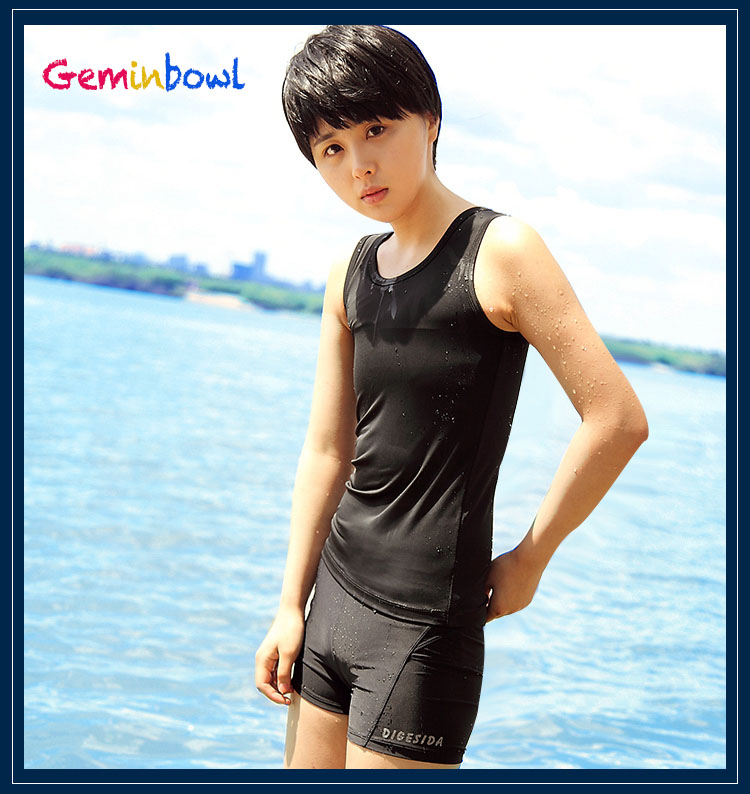 Geminbowl Swimsuit Slim Tomboy Les stroje kąpielowe z Chest Binder Płaskie kufry dziewczyna lesbijki Gorset Oddychająca Koszulka z długim rękawem