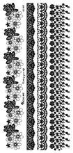 LS-507/New 2016 high quality temporary big sexy black/White lace flower bracelet chain design hena tattoo sticker for body leg