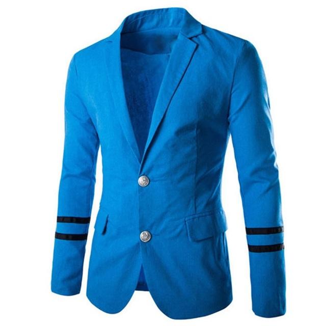 2015 New Arrival Top Suit Jacket For Men Fashion Metal Buckle Slim Fit Men Suits Blazer Patchwork Two Buttons Blazers Jacket