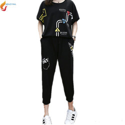 2017 fashion summer women suit 2 pieces sets large yards short sleeves tops pants sets casual.jpg 250x250
