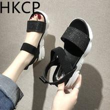 HKCP 2019 new Korean version joker thick bottom student one word buckle female summer water drill sports platform sandals C179