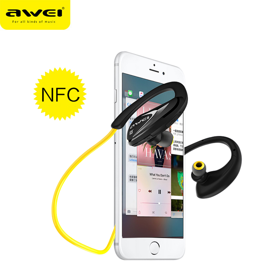 Awei A880BL NFC Bluetooth Headphones Wireless headset Sports Stereo Earphones with microphone noise canceling in ear headphone 2016 white and black joway h 08 wireless noise cancelling voice control sports stereo bluetooth v4 0 earphones with microphone