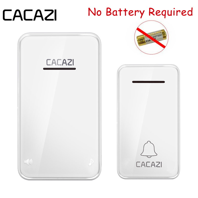 CACAZI No Battery Need Waterproof Wireless Doorbell 200M Remote Kinetic Electronic LED Light Ring Bell 1 Push Button+1 ReceiverCACAZI No Battery Need Waterproof Wireless Doorbell 200M Remote Kinetic Electronic LED Light Ring Bell 1 Push Button+1 Receiver