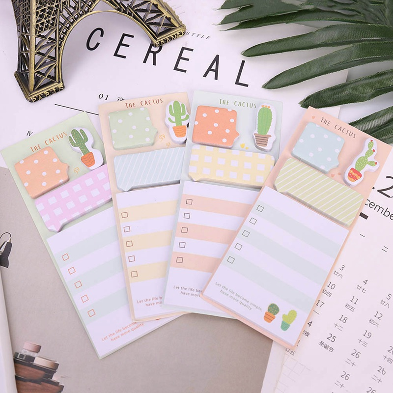 Kawaii Cactus Sticky Note Cute Memo Paper pad Post It Bookmark planner marker to do list office Supply Stationery