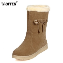 Women Half Short Boots Flat Winter Thicken Fur Warm Mid Calf Boot Bota Feminina Gladiator Botas Footwear Shoes Size 34-40(China)