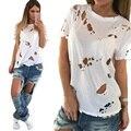 Отверстие Нищий белый черный футболка женщины диких полые сжигания цветы ripped мода выдалбливают с короткими рукавами футболки Женщин топы