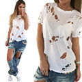 Buraco Mendigo branco camisa preta de t mulheres selvagens flores ardentes ocos rasgado moda oco out curto-de mangas compridas t-shirt Das Mulheres topos